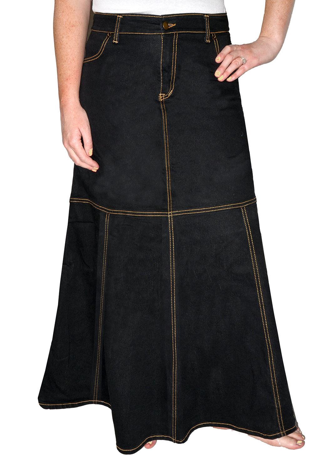 Einstufiger Jeansrock in schwarz