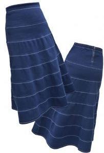Langer Jeans-Stufenrock in blau