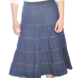 Knielanger Jeans-Stufenrock für Mädchen in blau